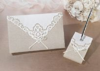 Country Lace Wedding Guestbook And Pen Set